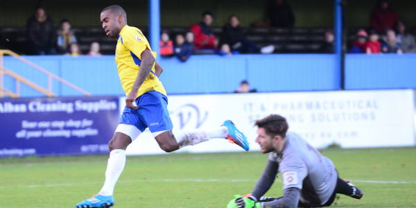 Michael Malcolm scores his first Saints goal on his debut against Concord Rangers