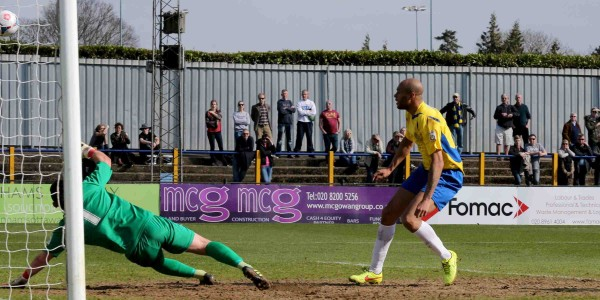 Simon Thomas scores against Eastbourne Borough at Clarence Park