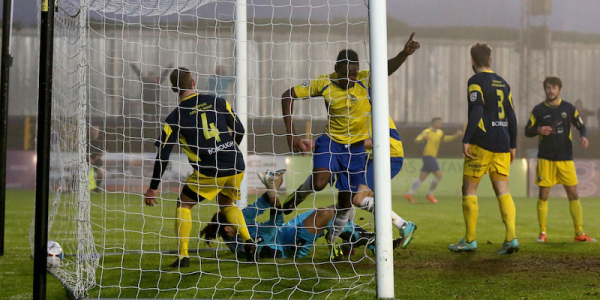 Omar Beckles scores the winning goal against Gosport Borough
