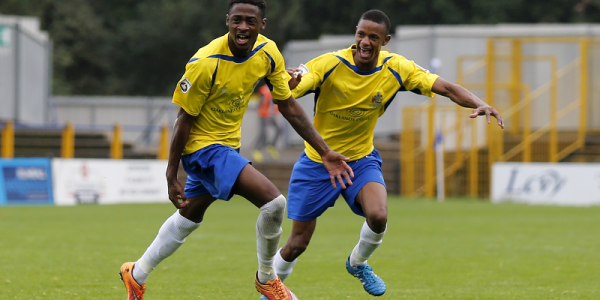 Kevin Krans celebrates his first goal for the Saints, with Ghassimu Sow