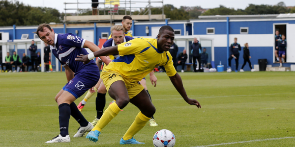 Ade Yussuf slips through the Margate defensive line