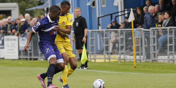 Ghassimu Sow gets to grips with the close attentions from Margate