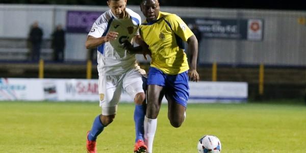 Jordy Ndjeka on debut for the Saints against Basingstoke Town