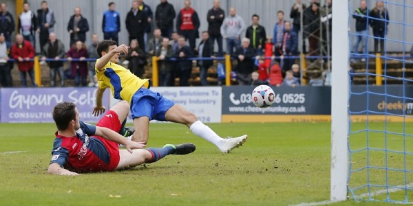 Graeme Montgomery at full stretch diverts the ball into the back of the net to get the Saints on the road to Wembley