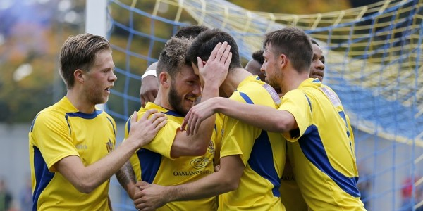 Graeme Montgomery celebrates scoring the opening goal in the FA cup tie