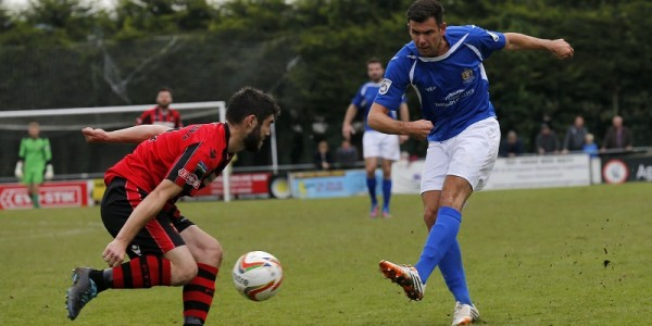 Graeme Montgomery has a shot from the edge of the Petersfield penalty box