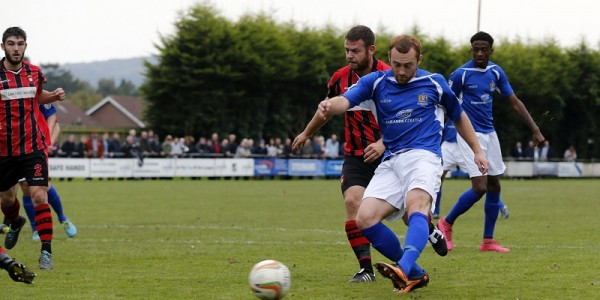 Harry Crawford fires the ball just wide