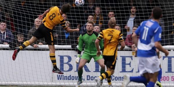 Joe Healy has an unchallenged header infront of Joe Welch's goal