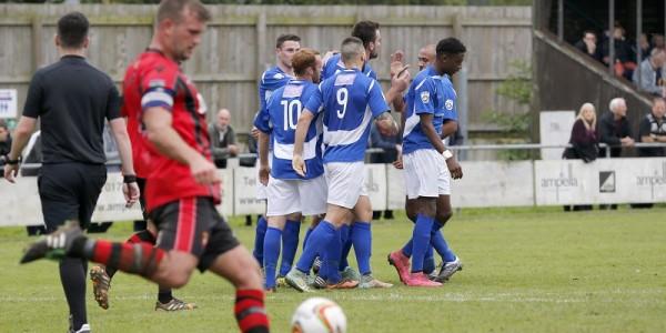 The Saints celebrate Ben Martins goal