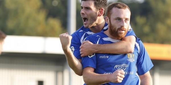 Graeme Montgomery celebrates Harry Crawford opening goal with him