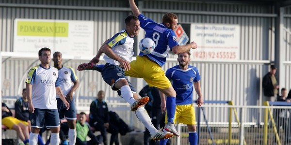 Harry Crawford battles to keep the ball under control