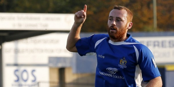 Harry Crawford celebrates scoring the opening goal