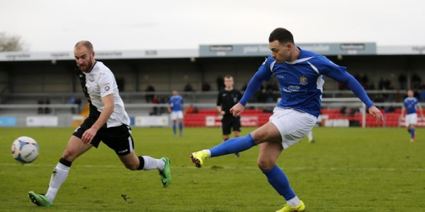 Louie Theophanous fires as wide as he was playing against Weston Super Mare