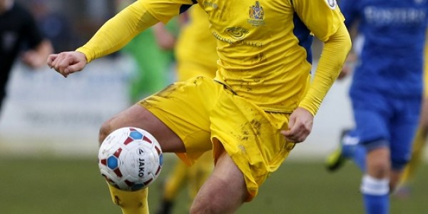 Louie Theophanous in action against Lowestoft Town