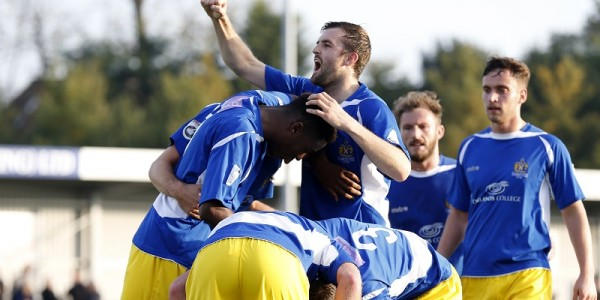 The Saints celebrate the opening goal of the game