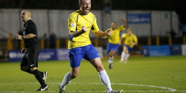 Harry Crawford celebrates his goal that puts the Saints two up against Margate