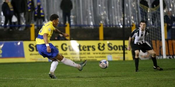 Jonathan Edwards scores the Saints third goal of the evening