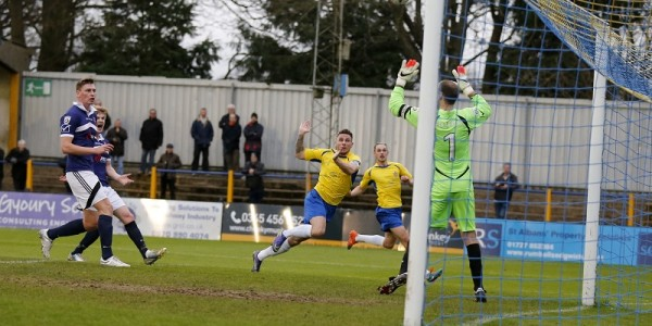 Lee Chappell goes close as he crept behind the Margate defense but could not direct his header into the goal