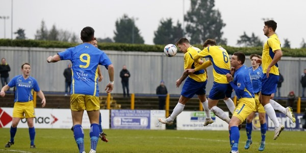 Charlie MacDonald guides his header towards the Concord goal