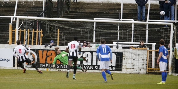 Elliot Richards fires high from the penalty spot one of two misses from the spot
