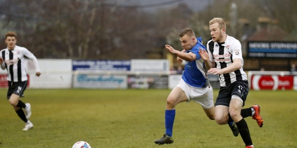Harry Anderson burst past Danny Greenslade into the Bath City box