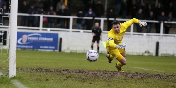 Jonathon Edwards went closest for the Saints in scoring but was unable to turn the ball inside Steve Phillips goal