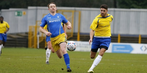 Michael Thalassitis has a shot from range against Concord Rangers