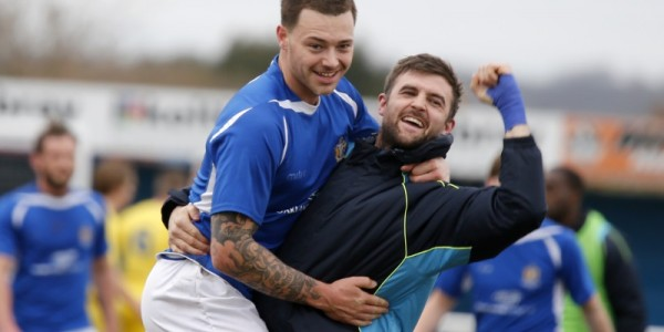 Darren Locke celebrates with Louie Theophanous after the Saints win against Concord Rangers
