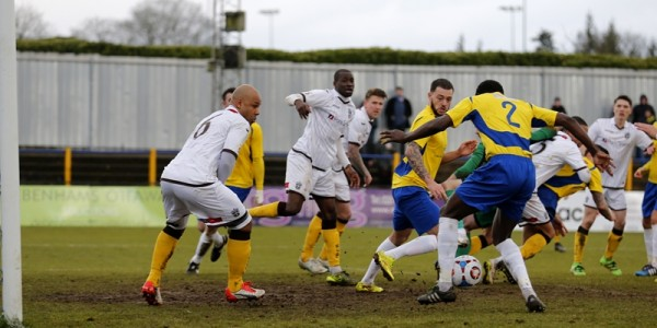 Eddie Oshodi could not react quick enough as the ball drops at his feet