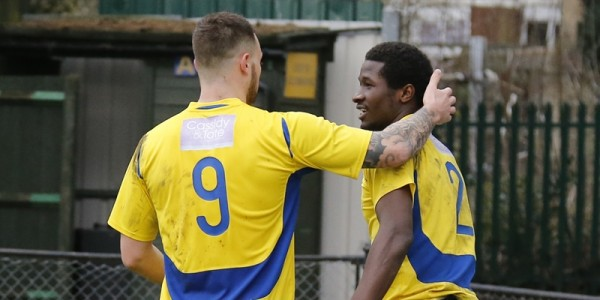 Louie Theophanous congratulates Eddie Oshodi on his goal