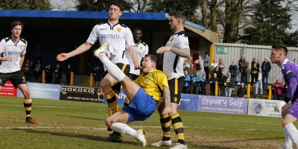 Charlie MacDonald tries a spectacular effort at goal