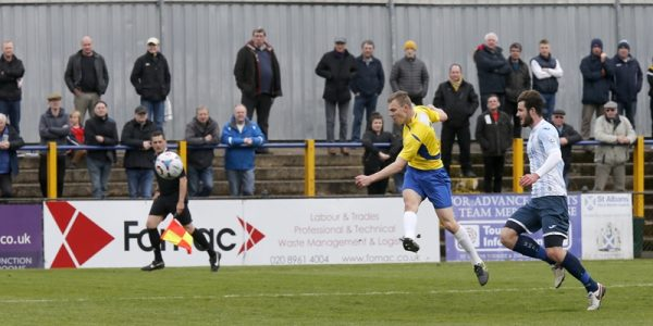Harry Anderson has a blast at goal