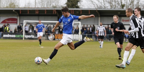 Michael Thalassitis has the Saints best chance with this shot a goal in the first half