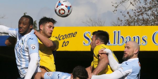 Michael Thalassitis heads towards goal