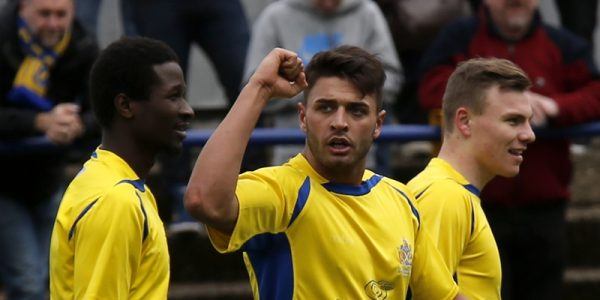 Michael Thalassitis salutes the fans after scoring the Saints 3rd goal against the Hawks