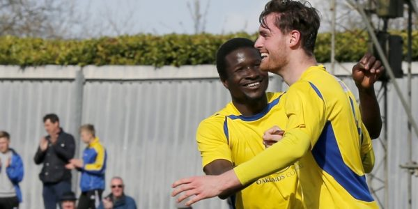 Eddie Oshodi celebrates after James Kaloczi puts the ball in the back of the net during the second half