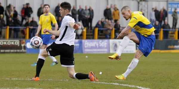 Louie Theophanous fires the ball towards goal
