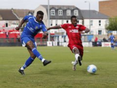 Dipo Akinyemi fires the ball towards goal