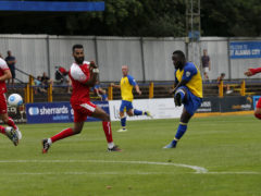 Junior Morias blasts the ball towards goal