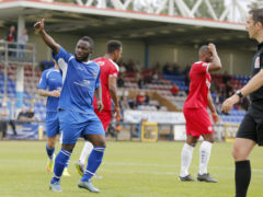Junior Morias celebrates after scroing the only goal of the gae from the penalty spot