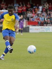 Dipo Akinyemi blasts the ball into the back of the net to try and ignite a Saints revival