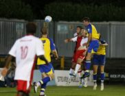 Ben Martin powers the ball towards goal
