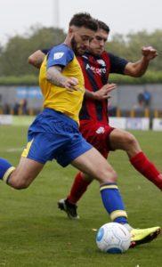 Louie Theophanous in action against Hampton & Richmond Borough