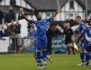 Shaun Lucien celebrates after scoring the equaliser