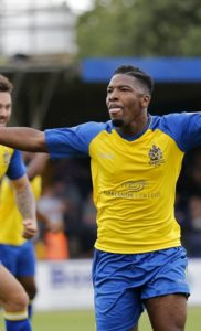 SHaun Lucien celebrates bring the game level at 1-1
