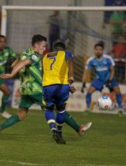Shaun Lucien has a blast at goal