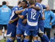The Saints celebrate Shaun Lucien's equaliser