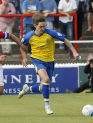 Tom Bender in action against Ebbsfleet United