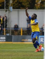 Junior Morias celebrates his first goal of the afternoon