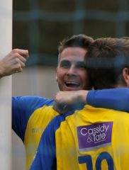 Lee Chappell celebrates with Sam Merson after he put the Saints into a 2-0 lead